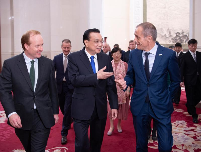 中国总理李克强会见近20家世界500强CEO 欢迎扩大对华投资