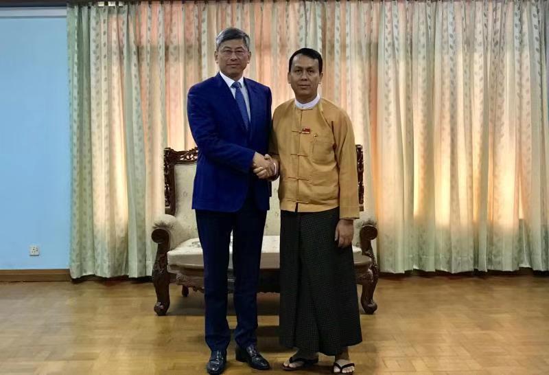 中国驻缅甸大使陈海在仰光会见仰光省首席部长漂民登