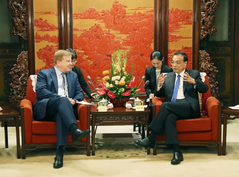 中国总理李克强会见美国企业家代表 谈及中美经贸关系